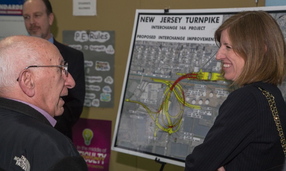 Lisa Navarro from the Turnpike Authority is happy to hear one resident's appreciation for the improvement project.